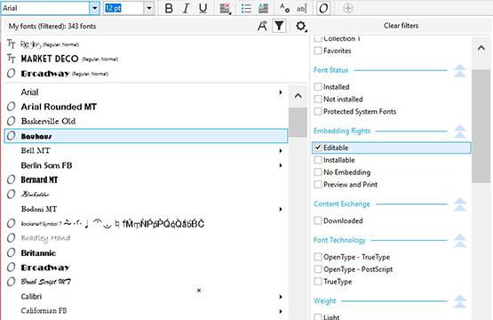 Katıştırma İzni font filtresi